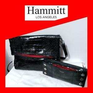 NWT HAMMITT VIP+110 NORTH WALLET BLACK PATENT CROC